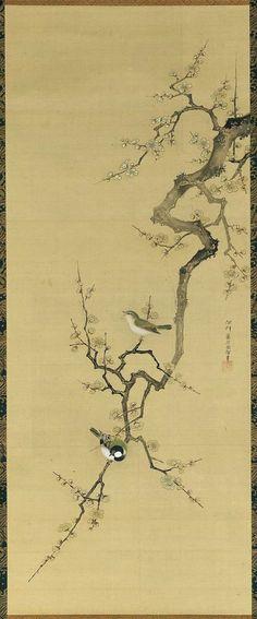 Plum Blossoms And Birds 梅に小禽図 Japanese, Edo period, latter half of the 18th century Kano Isen'in Naganobu, Japanese, 1775–1828