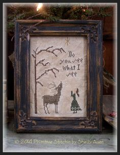 Do You See What I See Winter Christmas Cross par primitivestitchin