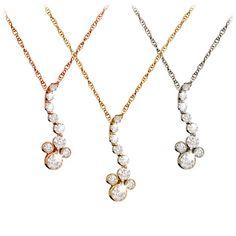 Diamond Pendant Mickey Mouse Necklace - 14K