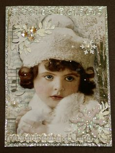 atc snow princess by butterflie1, via Flickr Shabby Chic Christmas, Vintage Christmas Cards, Vintage Cards, Christmas Past, White Christmas, All Things Christmas, Christmas Crafts, Simple Christmas, Atc Cards