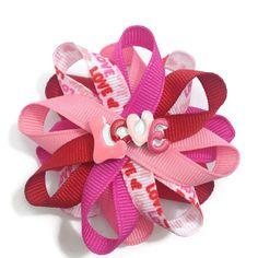 "NEW /""ZEBRA PEACE/"" Bottlecap Hairbow Alligator Clips Girls Ribbon Bows 5 Inch"