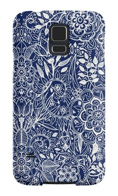 """Detailed Floral Pattern in White on Navy"" Samsung Galaxy Cases & Skins by micklyn 