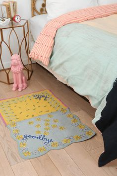 I initially checked out the 'Hello/Goodbye' Mat, hoping it could be a doormat(no) but then became smitten by the pastel pink poodle, which alas alack does not appear to be for sale on the site. Bastards!