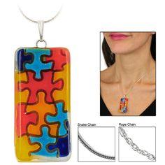 Autism Awareness Artisan Glass Necklace