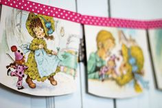 Bedtime Tales - a vintage storybook bunting / banner repurposed for a girls bedroom, nursery decor, birthday party garland or photo prop backdrop created by Decor and Crafts.com available on Etsy
