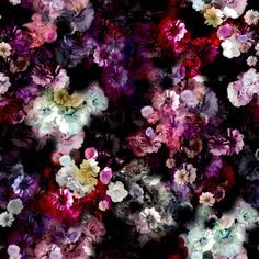 Jersey, digital print med blomster print på sort - FORUDBESTILLING