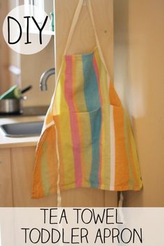 tea towel toddler apron - kaden would live this since he loves helping me cook/bake! Sewing Tutorials, Sewing Crafts, Sewing Projects, Sewing Ideas, Kid Crafts, Sewing Tips, Fun Projects, Fabric Crafts, Toddler Apron