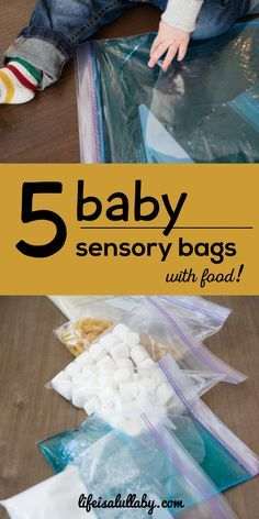 5 baby sensory bags: rice, sugar/salt, marshmallows, pasta, water w/food coloring