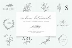 Ad: Botanical logos & illustrations by Crocus Paperi on A new pack of my favourite hand-drawn botanicals together with pre-made logo templates. Delicate illustrations are perfect for wedding Botanical Illustration, Graphic Illustration, Art Illustrations, Doodle Wedding, Logos Vintage, Logos Ideas, Hand Drawn Logo, Floral Logo, Wedding Logos