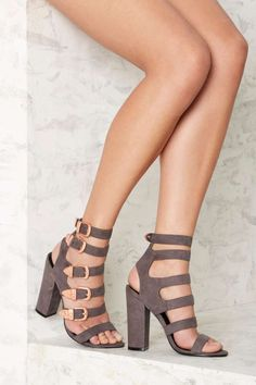 Nasty Gal Full Exposure Suede Heel - Gray - Shoes | Heels | Best Sellers