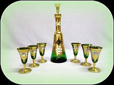 GLASSWORKS' SLAVIA CZECH BOHEMIAN GOLD HIGH ENAMEL EMERALD GREEN DECANTER SET