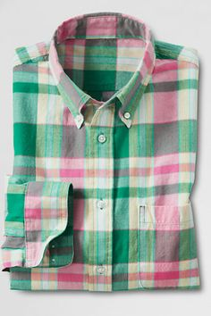 Men's Regular Long Sleeve Jupiter Multi Plaid Madras Shirt - LL Bean