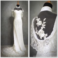 """Frank Sinatra - """"Fly Me To The Moon""""  Elegant Vintage Lace Qipao  #wedding #gowns #dresses #qipao #vintage #lace #elegant #church #white #bridal #ceremony #love www.lunewedding.com"""