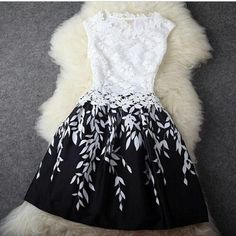 "I like this dress, but am worried that it says ""dark blue lace dress"". it looks black and white to me! Pretty Outfits, Pretty Dresses, Beautiful Dresses, Gorgeous Dress, Mode Outfits, Fashion Outfits, Dress Fashion, Fasion, Style Fashion"