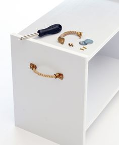 Easy DIY Project From Ikea - Cheap DIY Project - Redbook with rope drawer pulls… Bathroom Hacks, Bathroom Storage, Furniture Makeover, Diy Furniture, Furniture Assembly, Bathroom Furniture, Ikea Rast Nightstand, Draw Knobs, Draw Handles