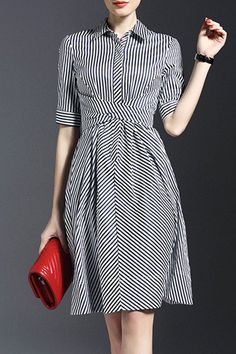 Dark Blue Shirt Collar Stripes Half Sleeve Bow Shirt Dress sold by Bilkis. Shop more products from Bilkis on Storenvy, the home of independent small businesses all over the world. Pretty Dresses, Beautiful Dresses, Day Dresses, Dresses For Work, Midi Dresses, Dress Skirt, Dress Up, Swing Dress, Wrap Dress