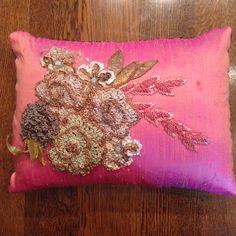 Surface design heirloom pillow in raw silk