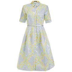 Raoul Ava Yellow Jacquard Print Shirt Dress (845 SAR) ❤ liked on Polyvore featuring dresses, yellow, short sleeve shirt dress, yellow shirt dress, knee-length dresses, button down shirt dress and metallic dress