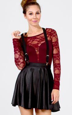 Suspender Skater Skirt BLACK