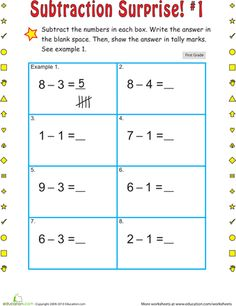 Don't dilly-dally—practice how to tally! After solving some subtraction problems, your first grader can write out his answer with tally marks.