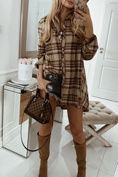 Plaid Outfits, Thanksgiving Outfit, Cozy Sweaters, Over The Knee Boots, Casual Chic, Autumn Fashion, Shirt Dress, Style Inspiration, How To Wear
