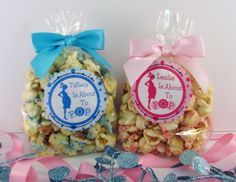 Baby Shower Favors Using Popcorn ~ Ready to pop popcorn boxes with printable template