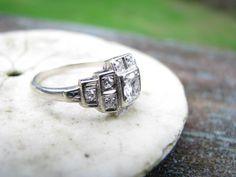 Stunning Art Deco 14K White Gold Diamond Engagement Ring - Old European Cut Diamond - Great Deco Design. $875.00, via Etsy.