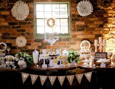 Rustic candy buffet / dessert table with SWEETS hessian bunting.Wedding Dessert Table Inspiration #wedding