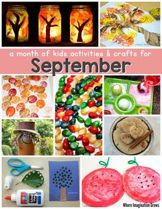 A month of kids activities for September! Fun fall crafts and learning activities for preschoolers! September Kids Crafts, September Activities, Autumn Activities For Kids, Kids Learning Activities, Fall Crafts For Kids, Projects For Kids, Art For Kids, September Preschool, Toddler Learning