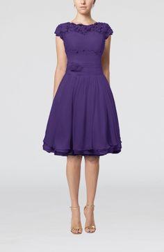 Cinderella Scalloped Edge Short Sleeve Chiffon Knee Length Lace Bridesmaid Dresses Comes In Purple - iFitDress.com
