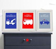 3 affiches pompier pour décoration chambre d'enfant par alexiableu