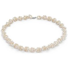 Do a fine faux, of course Freshwater Cultured Pearl Cluster Necklace with 14k White Gold