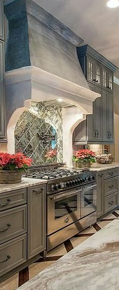 grey kitchen with cool back splash