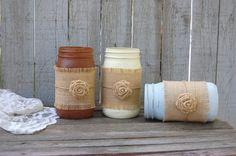 Painted mason jars with burlap