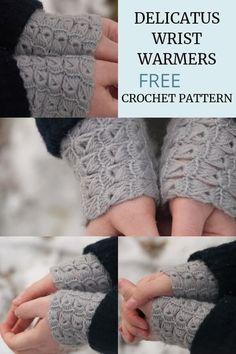 Crochet Delicatus Wrist-Warmers – Free Crochet Pattern – do Scrap Yarn Crochet, One Skein Crochet, Crochet Mittens Free Pattern, Crochet Gratis, Crochet Gloves, Easy Crochet, Free Crochet, Knitting Patterns, Crochet Patterns