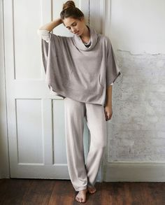 Beautiful winter loungewear, these fine knit, pure cotton trousers are soft and comfortable. With a long, straight leg and a ribbed elasticated waistband, they are the perfect pottering-about-the-house trousers. Lounge Pants, Lounge Wear, Cashmere Poncho, Home Outfit, Weekend Wear, Up Girl, Minimalist Fashion, Cowl Neck, Casual Outfits