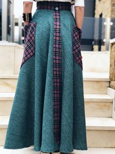 Fit sizes: Xs/S Design Zuzka Mak Made in Greece Handmade Wear with basic T shirt Wear with With Blouse Wear with Black Blouse Made from Wool Under is anot Long Green Skirt, Black Blouse, High Waisted Skirt, Wool, Skirts, Handmade, How To Wear, Collection, Design