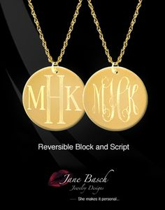 Can't decide between Script or Block lettering?  We did it for you.  Our #exclusive #Engraved Monogram #Disc has BOTH a #Block lettered monogram on one side and a #script #monogram on the other.  Shop http://store.janebasch.com/jbd398-dual-engraved-disc/