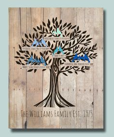 """Personalized Family Tree Poster 11""""x14""""  with names of children and…"""
