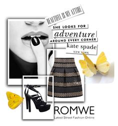 """""""Romwe!!"""" by amrafashion ❤ liked on Polyvore featuring GUESS and Kate Spade"""