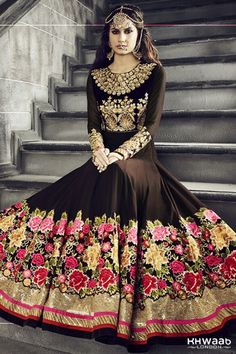 Queen of Anarkalis by Hotlady cofee brown and pink 2993 - KHWAAB LONDON - 1877 - Khwaab London