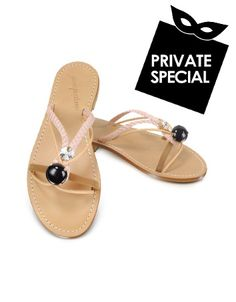 Jeweled Sandal Shoes - Secret 50% OFF Special, not accessible from our public site. Use code: PLATINUMCODE. Limited time only. The unusual charm of Giallo Positanos jeweled sandal shoes is highlighted by the unique configuration of leather straps and jewels for a one-of-a-kind summer elegance. Signature box...