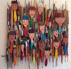 Here is what I made with 4 years of dead paint brushes from school. Each brush h… Here is what I made with 4 years of dead paint brushes from school. Each brush has a hanger so they can be sold individually or as a whole unit. Middle School Art, Art School, School Play, Paint Brush Art, Paint Brushes, Collaborative Art, Assemblage Art, Recycled Art, Art Classroom