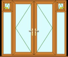 DIY made to measure external upvc oak French Doors with side panels from inc VAT. French Doors, Upvc French Doors, French Windows, Tall Cabinet Storage, Panel Siding, Paneling, Oak French Doors, Doors, Cheap French Doors