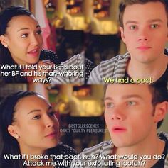 "Santana and Kurt "".attack me with your exfoliating loofah? Glee Memes, Glee Quotes, Finn Hudson, Glee Club, Naya Rivera, Chris Colfer, Pretty Little Liars, Best Shows Ever, Messages"