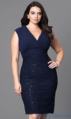 Sequined-Lace Knee-Length Plus Party Dress Tesettür Modası 2020 Tesettür Modası 2020 Holiday Formal Dresses, Plus Size Formal Dresses, Plus Size Dresses, Beautiful Dresses, Nice Dresses, Casual Dresses, Short Dresses, Fashion Dresses, Curvy Outfits