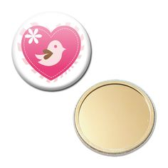 Miroir de Poche Badge 56 mm - Coeur Heart Oiseau Bird Saint Valentin : Autres accessoires par miss-kawaii
