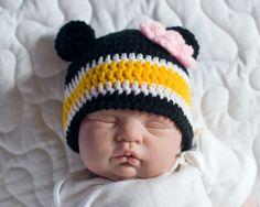 BABY GIRL HOCKEY Boston Bruins pacifier not included, Bruin Bear Hockey, Football Crochet Black Gold, Hockey Baby Girl, Baby Knit Hockey Hat by Grandmabilt on Etsy