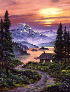 paintings of mountain cabins | Cabin On The Lake Painting - Cabin On The Lake Fine Art Print