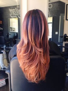 Strawberry blonde ombre and balayage